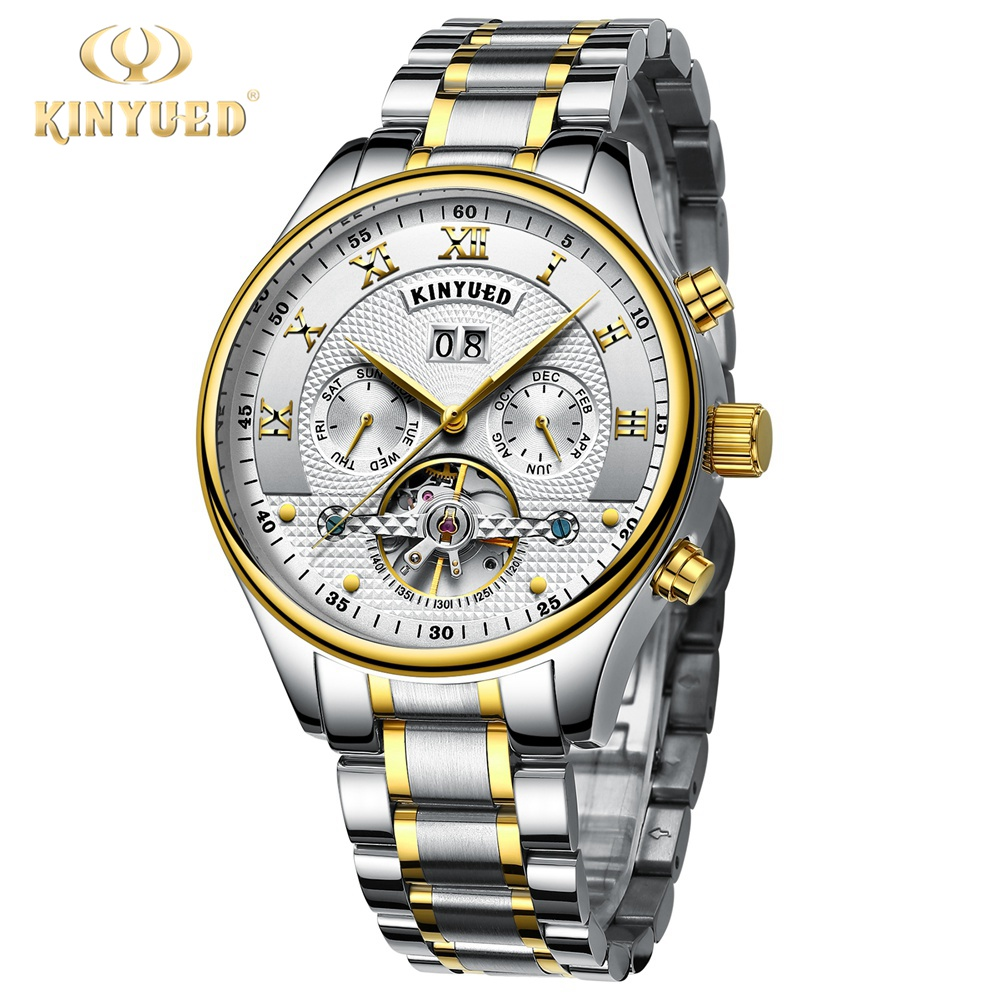 Kinyued New Number Sport Design Bezel Golden Watch Mens Watches Top Brand Luxury Montre Homme Clock Men Automatic Skeleton Watch