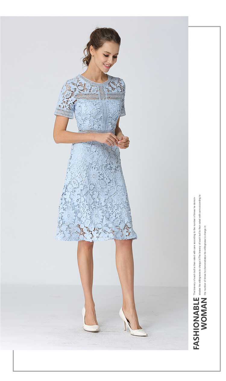 Summer Hollowed Up Blue Lace Dress Dress Women Elegant Midi Party Dress Vestido Mujer Verano 2018 Ladies Dress Robe Femme K6835 6