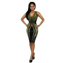 Summer 2017 Sexy Womens Sleeveless Stripe Print Package Hip Slim Fit Dress hip huggers elastic  Mini party Dresses