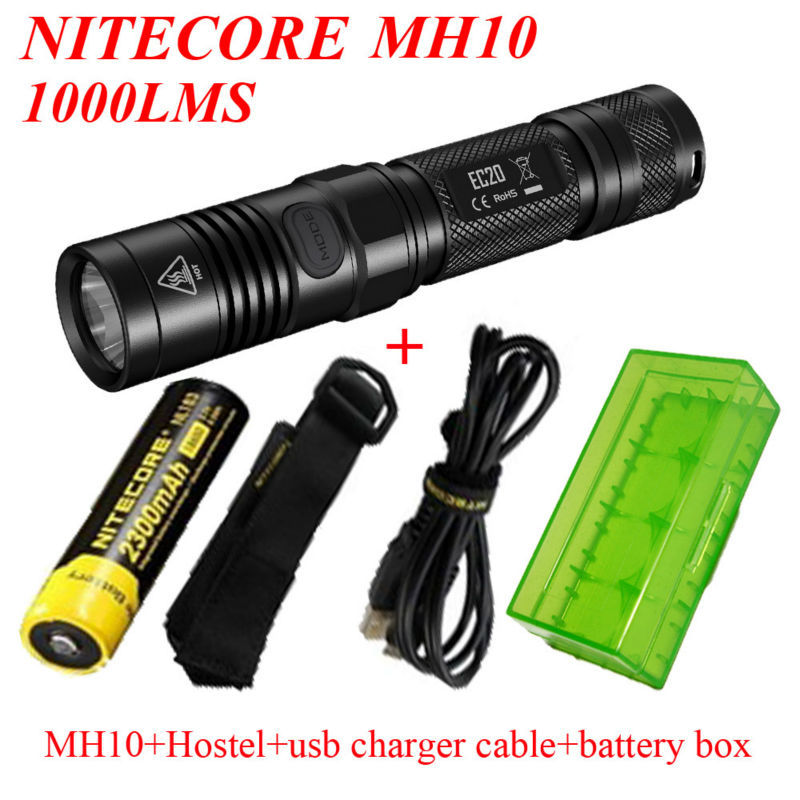 2015 Newest Nitecore MH10 1000 lumens CREE XM-L2 U2 LED flashlight+Nitecore NL183 +hostel+use charger cabel+Battery box romanson tl 0186c xc wh