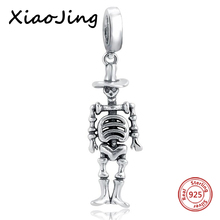 Vintage Metal Skull Charms Fit Pandora 925 Sterling Silver DIY Beads for Jewelry Bracelets Making