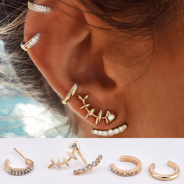 Girl Earrings Punk Vintage Fish Bone Crystal Womens Girls 4PCS/Set Gold Color Jewelry Fashion