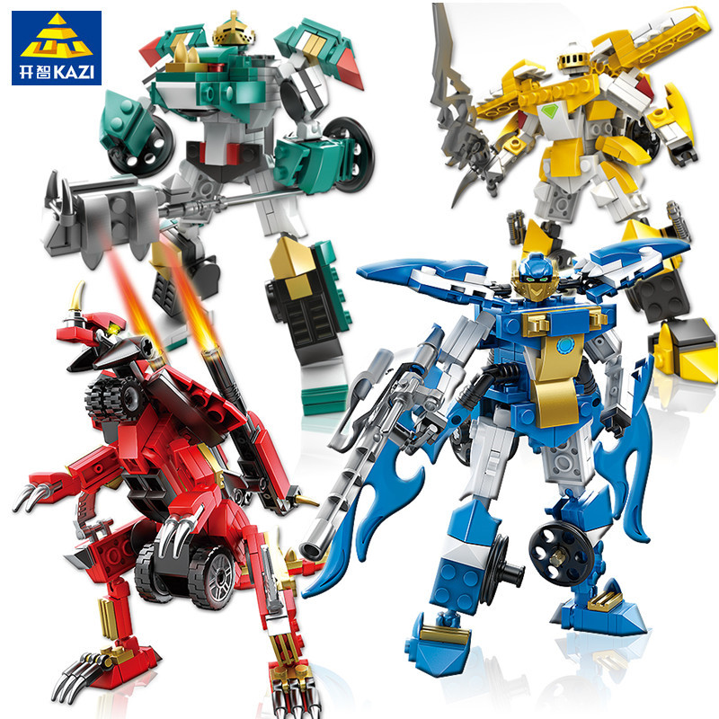 KAZI 4pcs/set Robot Transformation Truck Car Vehicle Figures Building Blocks Star Wars Bricks Gift Educational Toys For Children