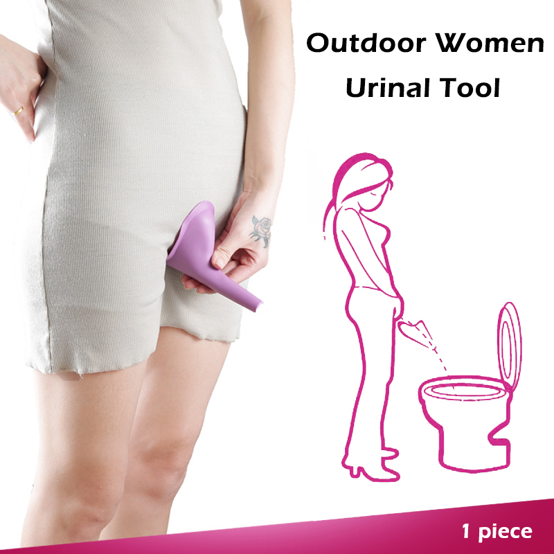 1 PC Portable Outdoor Women Urinal Tool Foldable Female Urinal Soft Silicone Urination Device Stand Up & Pee For Travel Camping