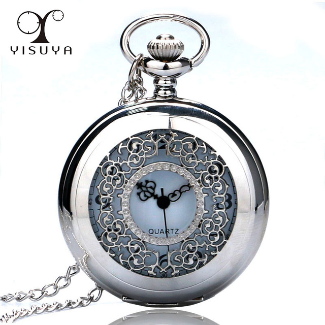 2018 Classic Silver Tone Half Hunter Charm Flower Hollow Quartz Pocket Watch Nec