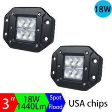 1Pair 18w Led Work Light Off Road Offroad Lamps Driving Lamp Flush Cover Super mount Lighting