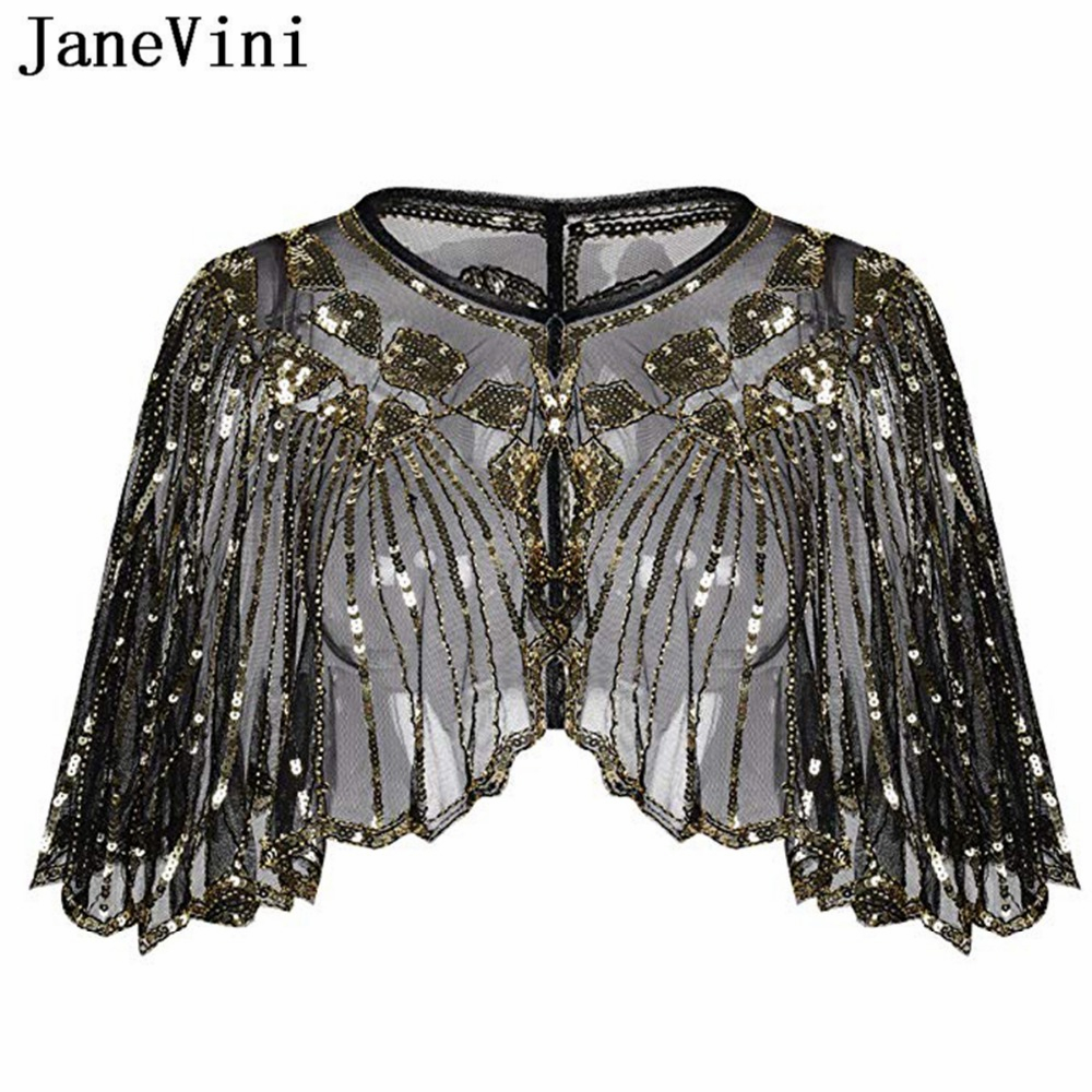 JaneVini Elegant Black Gold Bridal Shawl Wrap Bolero Women Short Cape Sequined Sparking Wedding Jacket Shrug Chaqueta De La Boda