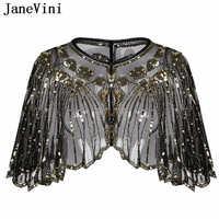 JaneVini elegante negro dorado envoltura chal nupcial Bolero mujeres capa corta lentejuelas chispeante Boda Chaqueta Bolero Chaqueta De La Boda