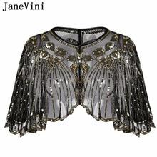 JaneVini zarif siyah altın gelin şal şal Bolero kadınlar kısa pelerin payetli kıvılcım düğün ceket Shrug Chaqueta De La Boda