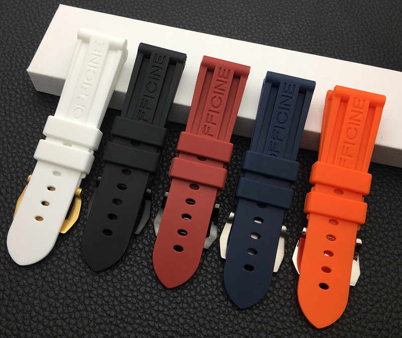 22mm 24mm 26mm Black Blue Red Orange white watch band Silicone Rubber Watchband replacement For Panerai Strap tools steel buckle