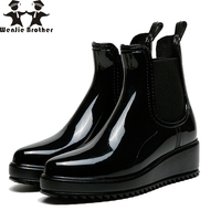 wenjie brother Women Rain Boots Slip On Side Elastic Band Girl's Outdoor Street ankle RainbootPVC Waterproof Water Shoes Woman