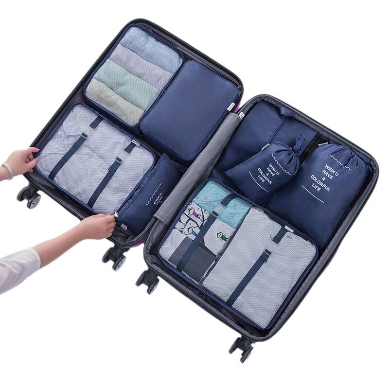 8 Pcs Set Travel Storage Bag Waterproof Packing Portable Clothing Sorting Bathroom Bedroom Makeup Organizer Accessories