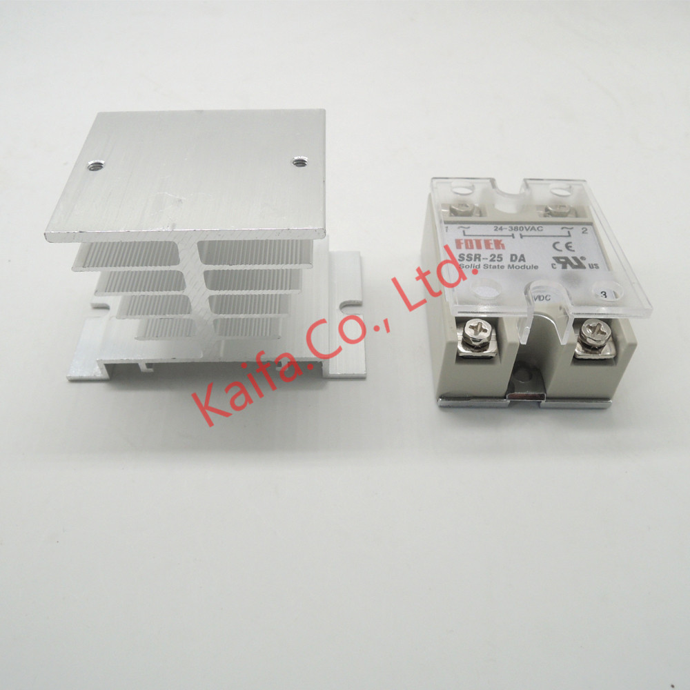 1pcs solid state relay SSR-25DA 25A actually 5-24V DC TO 24-380V AC SSR 25DA relay +1pcs  Protective cover+1 pcs Heat sink solid state relay ssr 25da 25a 5 24v dc to 24 380v ac ssr 250a 6 20ma