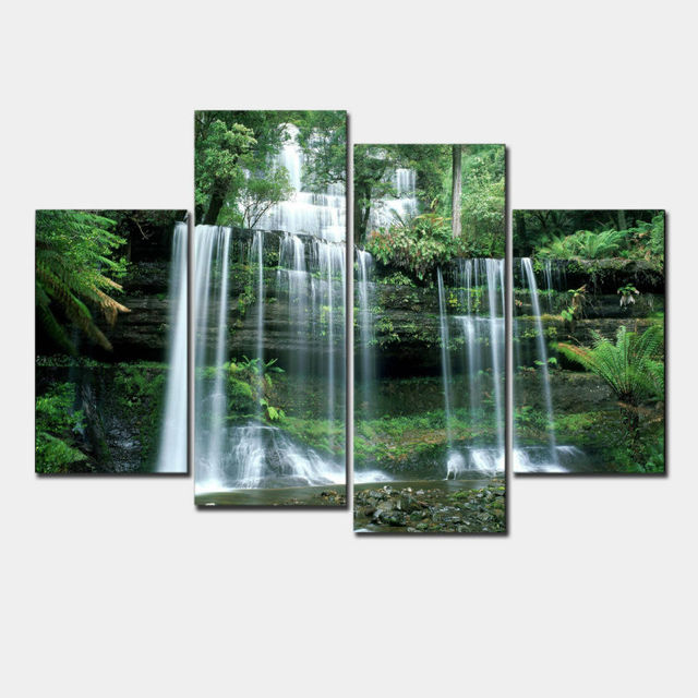 Nature cascades paysage affiche grand moderne toile for Maison moderne nature