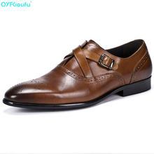 Men Single Monk Strap Shoes Round Toe Brogue Shoes With Buckle Straps Genuine Leather Shoes Black Brown Wedding Shoe beautoday monk shoes women buckle straps genuine leather calfkin round toe lady flats handmade brogue style shoes 21408