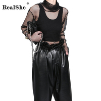 RealShe Autumn 2017 Fishnet Clothes T Shirts For Women Tee Shirt Femme Camisetas Poleras De Mujer