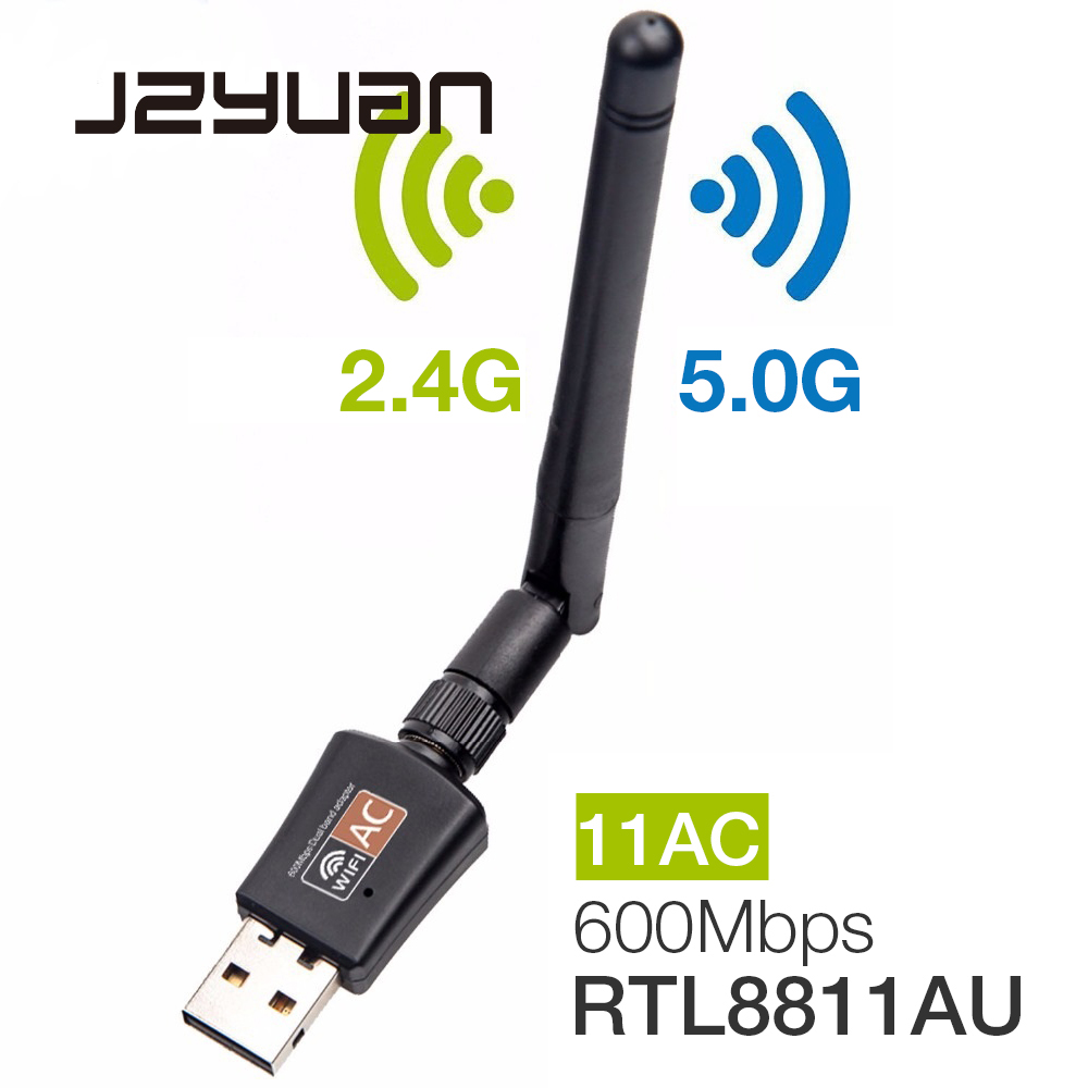 600 Mbps de 5 Ghz 2,4 Ghz USB adaptador Wifi USB banda Dual RTL8811AU antena Wifi Dongle adaptador LAN para Windows mac de escritorio/portátil/PC