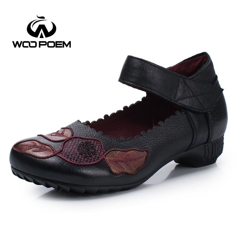 WooPoem Spring Autumn Shoes Woman Breathable Genuine Leather Mary Janes Shoes Low Heel Flats Chaussure Femme Ladies Shoes 7056 woopoem brand 2017 new autumn shoes woman breathable genuine leather flats low heel soft sole fretwork casual women shoes 7761