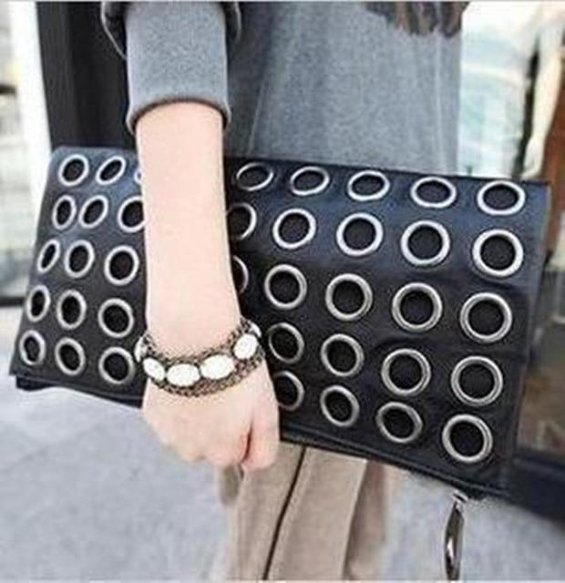 New Fashion Style PU Leather Handbag Famous Retro Rivet Tote Bag Lady Wallet Clutch Female Purse Evening Necessaries Bag F100