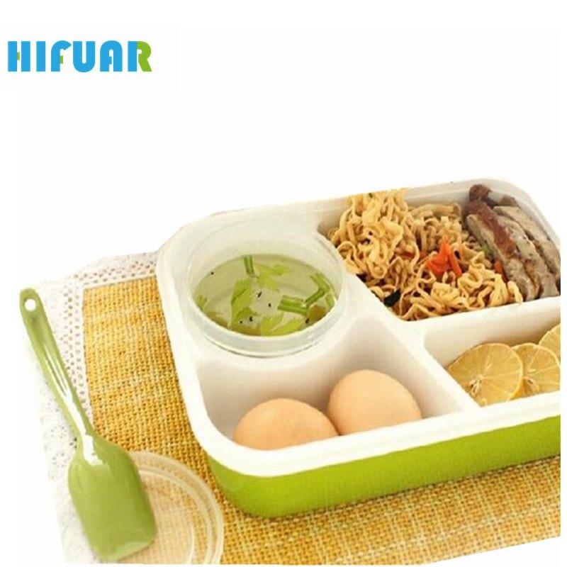 HIFUAR Lunchboxes Microwaveable Plastic Portable Bento-Box Food-Container Kids 4-Lattices
