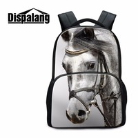 Dispalang White Horse School Backpacks for Teenagers Boys Cute Bookbags Animal Felt Design Back Pack for Girls Stylish Mochilas