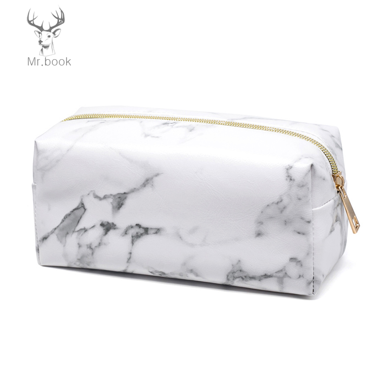 Marble Pencil Case Women Necessaries Make Up Bag Travel Waterproof Portable Beauty Zipper Tool Pouch Stationary For School
