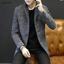 купить 2018 Brand High-Quality Winter New Korean Single-Breasted Men's Woolen Coat Men's Long Wool Woolen Jacket Slim men's Woolen Coat по цене 3978.21 рублей