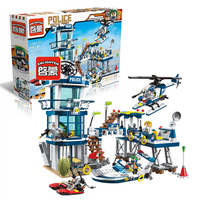 Enlighten Police Rescue Plan Helicopter Model Building Kits Compatible With Lego City 3D Blocks Educational Toys