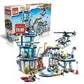 Plan de rescate de la policía enlighten helicóptero kits de edificio modelo compatible con lego city 3d bloques educativos juguetes aficiones