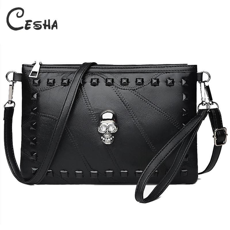 Fashion Patchwork Sheepskin Leather Women Handbag Fashion Skull Design Shoulder Bag Female Rivet Crossbody Bag Day Clutch Bag