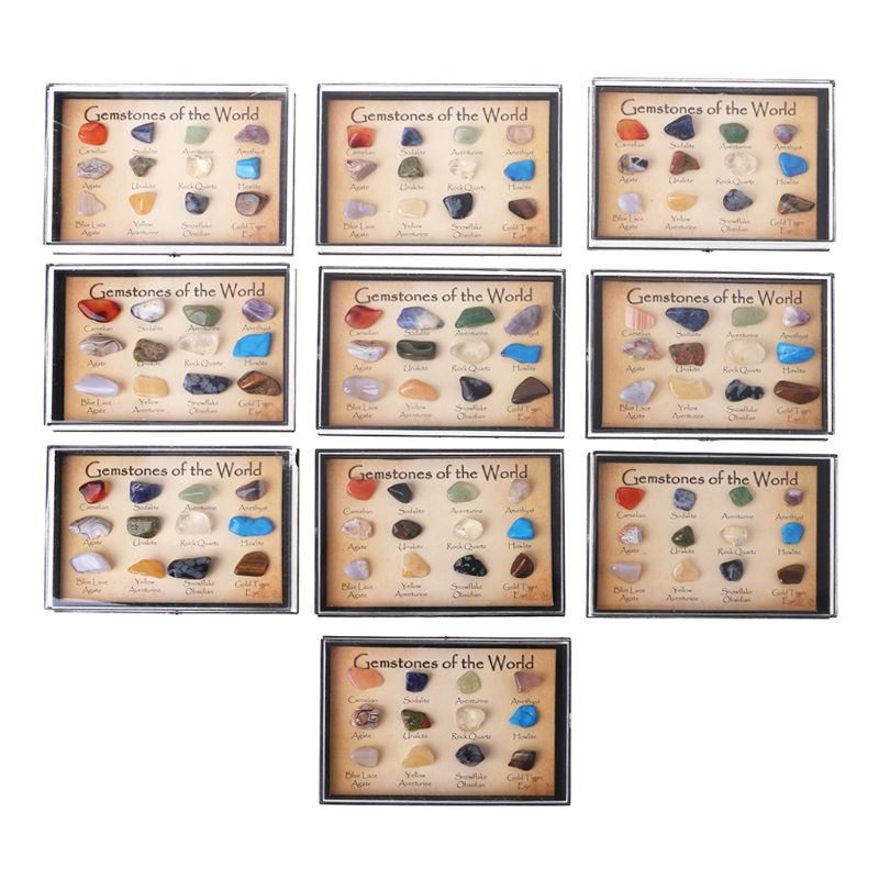 Rock Collection 15pcs Mixed Natural Mineral Ore Specimens With Box Jewelry Sets Fashion Jewelry Relieving Heat And Thirst.