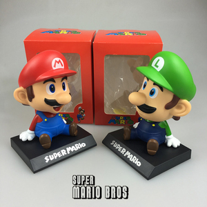 Image 3 - Funny Super Mario Bros Car Dolls Head Shaking Toy Model Lovely Car Ornaments Auto Interior Decoration Accessories Kids Gift 2019