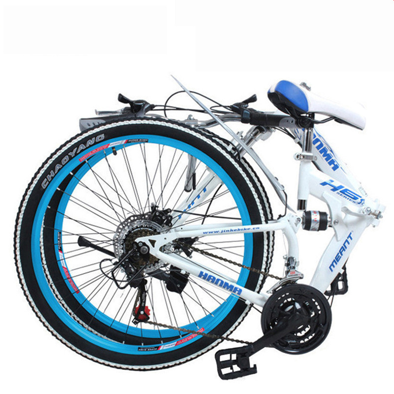 Folding Mountain Bicycle 21-Speed 24 Inch Multi-color Selection Disc Brakes Double Shock Absorption For Student Adults