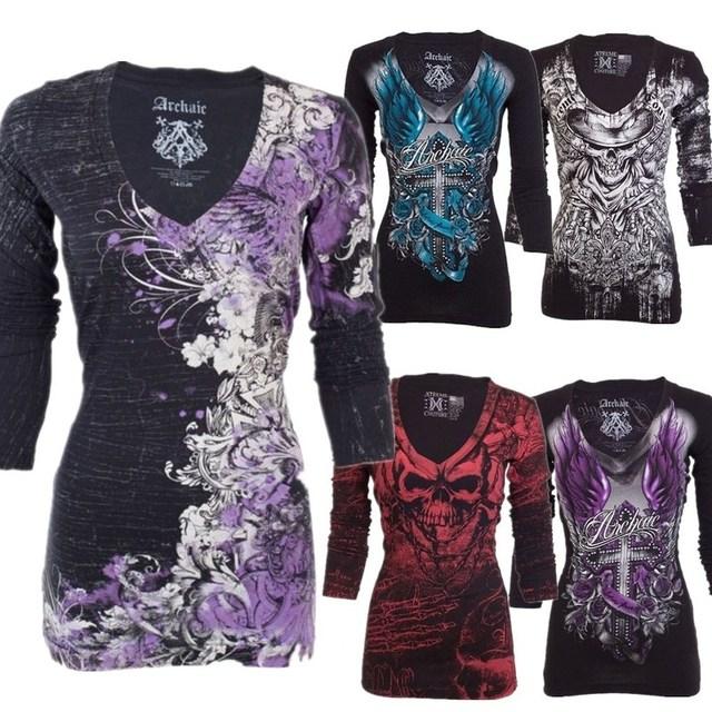 Women T Shirt Long Sleeve Rose Tattoo Casual V Collar Skull Print