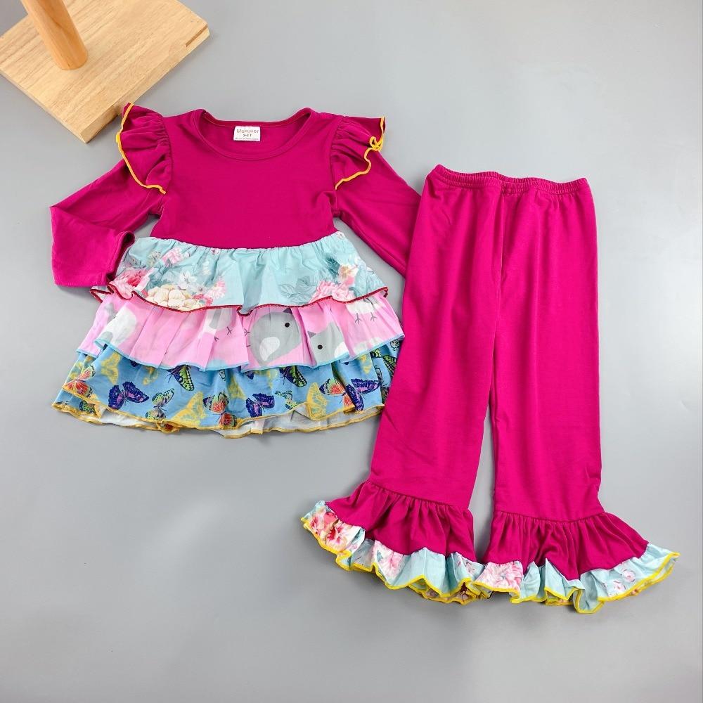 136f132a7 Verano otoño 100% algodón clásicos estilo volantes 3/4 mangas estilo bebé  niñas vestido polainas + Pantalones largos niños botique trajes