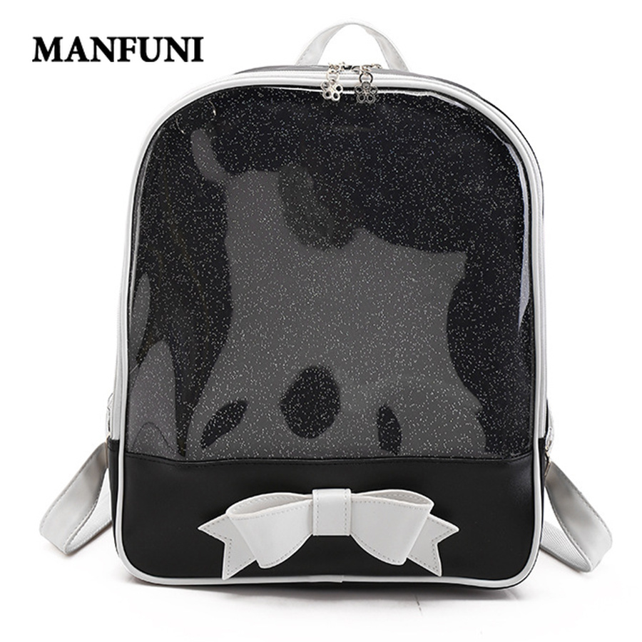 MANFUNI Cute Clear Transparent Bow Backpack Ita Bag Harajuku School Bags For Teenage Girls Rucksack Kids Kawaii Backpack Itabag