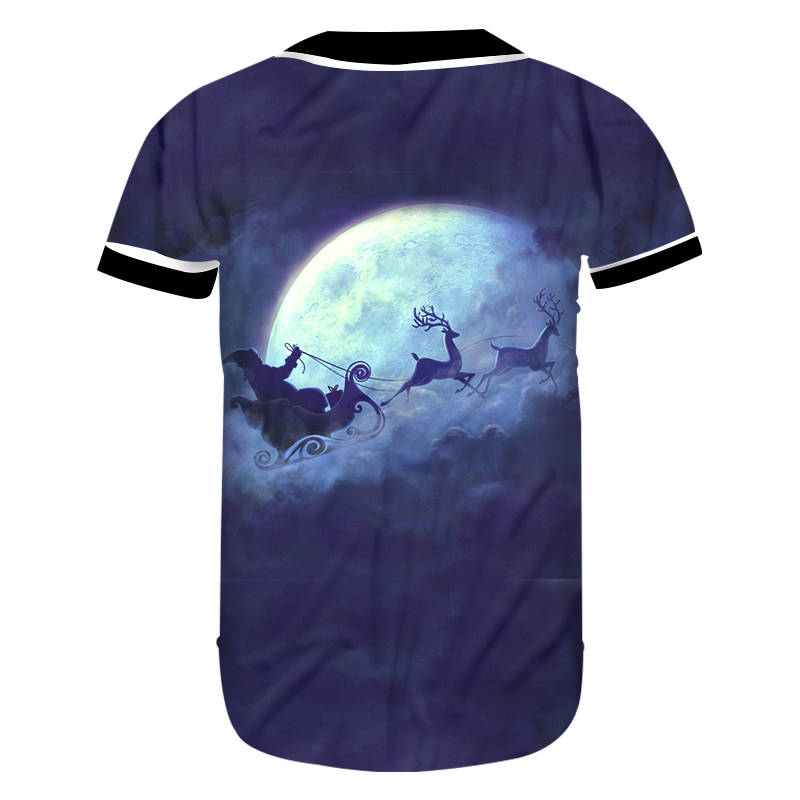 9c235d973c38 OGKB New Women Christmas Costuming 3D Printed Santa Claus And Flying Elk  Carriage Trend Lady Casual Baseball Shirt-in T-Shirts from Women s Clothing  on ...