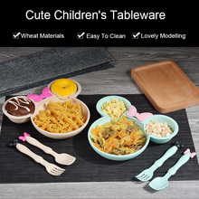 Children Baby Bamboo Tableware Solid Feeding Mickey Dishes Baby Bowl Plate Food Feeding Dinnerware Set Plates for Children 1 set baby feeding bamboo fiber cartoon tableware dishes food container bowl cup plates sets for infant baby kids plate