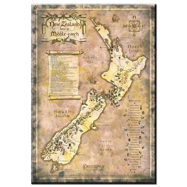 Online Shop Zz1741 Vintage The Lord Of The Rings New Zealand Home Of