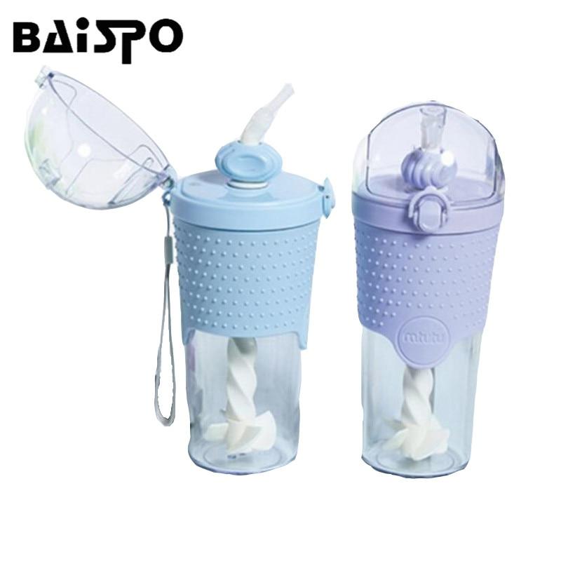 BAISPO 500 ML draagbare waterfles eiwit shaker mixer stro stijgbeugel - Keuken, eetkamer en bar