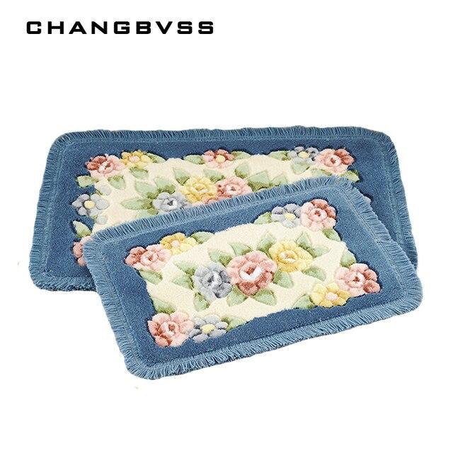 Flower Printing Classic Bathroom Carpet Mat Rug, 1 PCS Anti-Slip Floor Bath Mat Carpet, Bath Carpet Mat Toilet Rug Alfombra