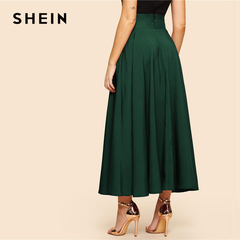 SHEIN Green Elegant Bow Knot Front Flare Maxi Skirt 2019 Spring Women High Waist Plain Vintage Full Length Party Skirt 2