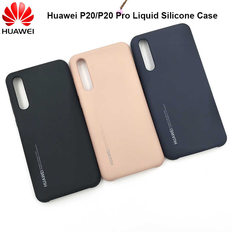 Original Huawei P20/P20 Pro Official Liquid Silicone Case Silky Smooth Soft-touch Back Cover For P20 Pro Anti-shock Full Protect