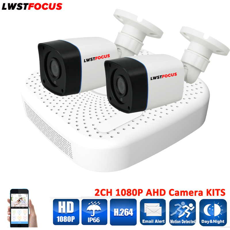 LWSTFOCUS 4CH AHD DVR Security CCTV System 20M IR 2PCS 1080P CCTV Camera Outdoor Waterproof Camera Home Video Surveillance Kit