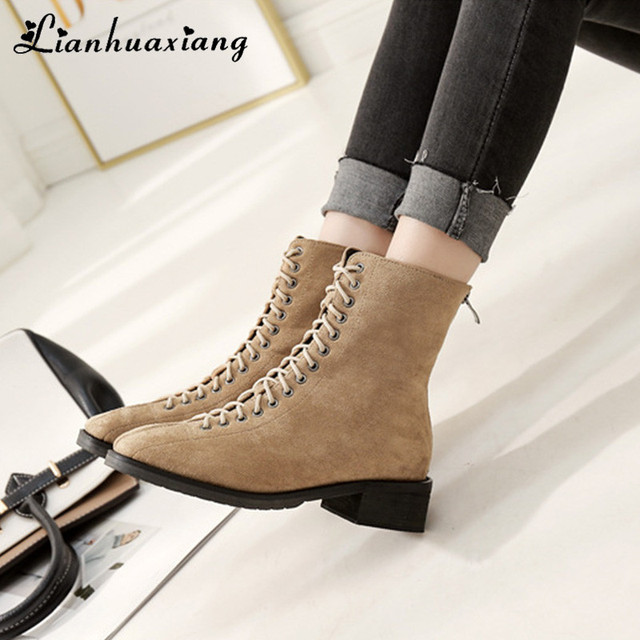 Lace-Up Winter Ankle Boots Women High Heels Short Plush Square Toe Fashion  Motorcycle Boots 1b38d87571bb