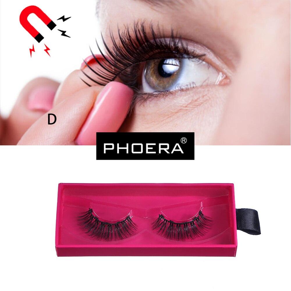 PHOERA 3D Reusable Magnet False Eyelashes Handmake Natural Ultra-thin Extension Thick Cross Magnetic Mink Lashes Makeup Tool