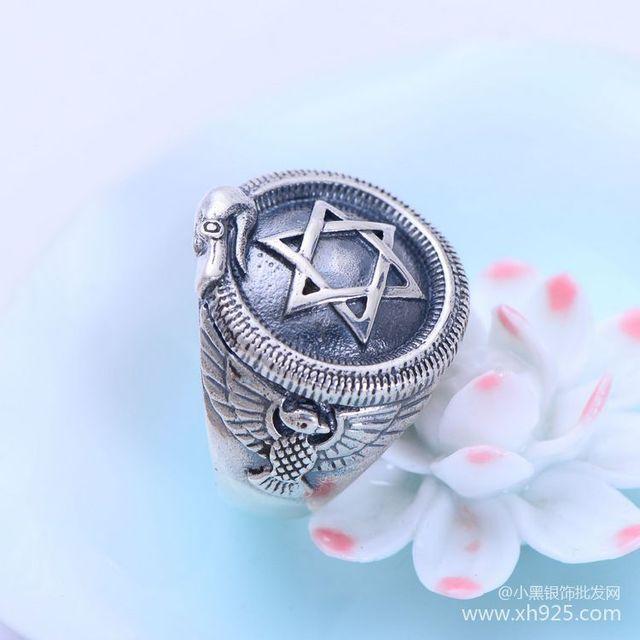 Черный Серебряный S925 серебряные ювелирные изделия оптовая моды ретро серебро шесть звезд Мужские Кольца xh056073w