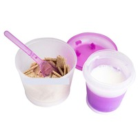 Creative Breakfast Cup Oatmeal Cup Cereal To Go PP Material Snack Cup With Lid Foldable Spoon Food Container Keep Milk Cold 3