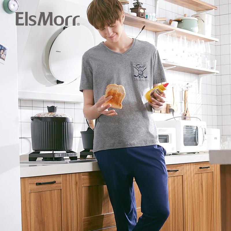 Herren-pyjama-garnituren Pyjamas Set Männer T-shirts & Hosen Solide Baumwolle Nachtwäsche Top Hosen V Neck 2019 Neue Männliche Pyjama Masculino Pijama Hombre Elsmorr Rheuma Und ErkäLtung Lindern