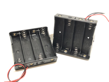 30pcs/lot New Battery Storage Case Cover Plastic 4 x 18650 Batteries Box Holder Black With 6 Wire Leads